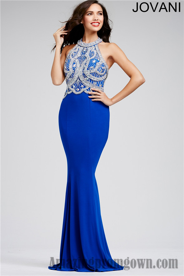 Halter Neck And Beaded Top Jovani Long Prom Dresses 2016 Halter