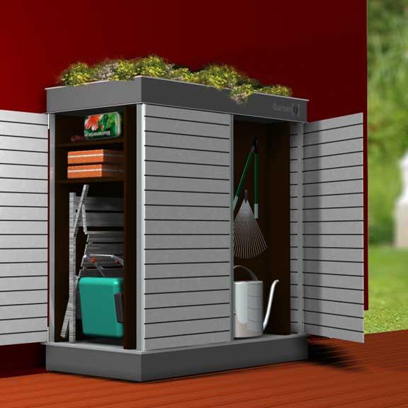 Garten[Q]  moderne Gartenhäuser, Gartenschränke, Müllboxen und