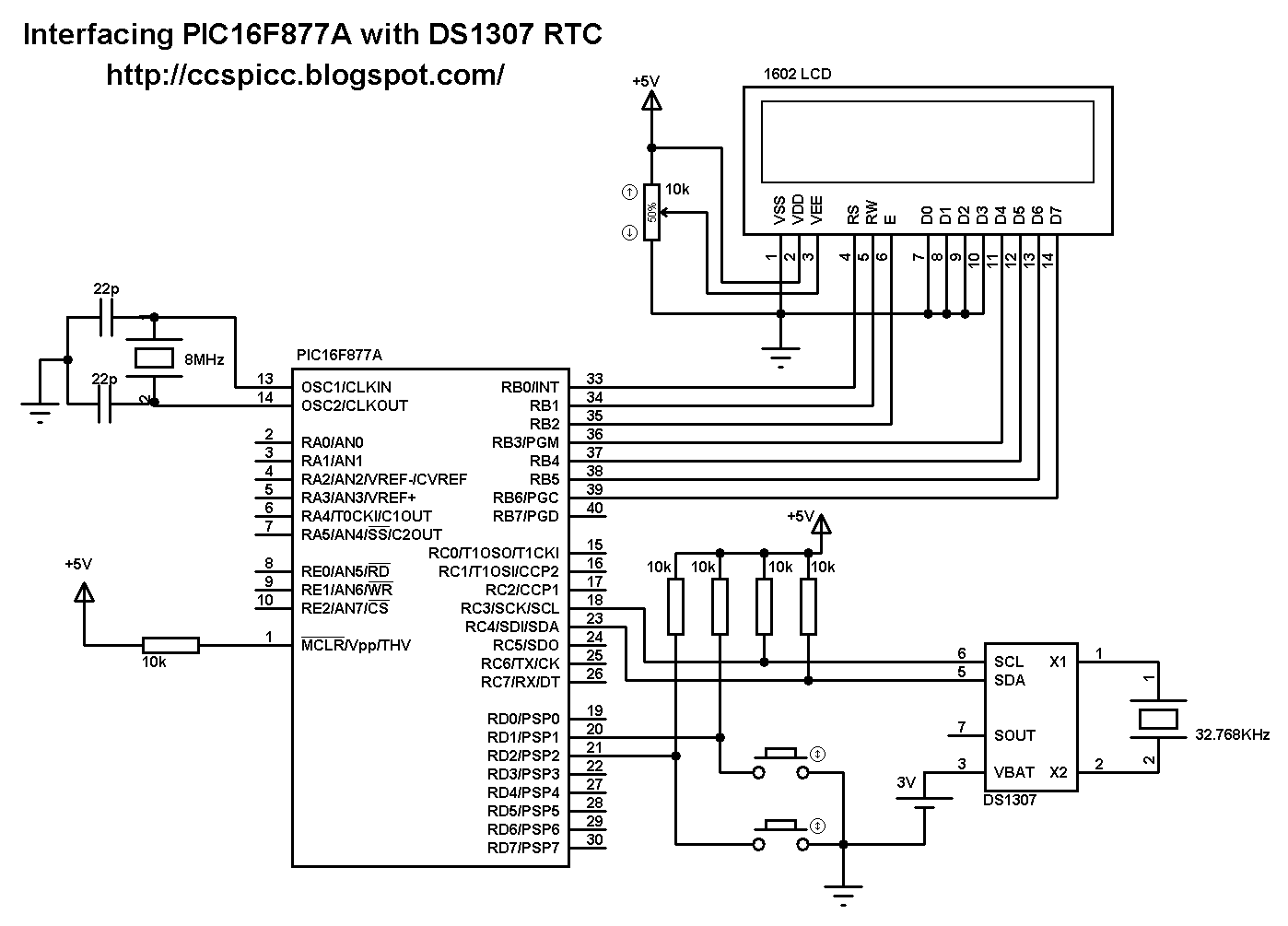 real time clock using pic16f877a microcontroller and ds1307 serial rtc