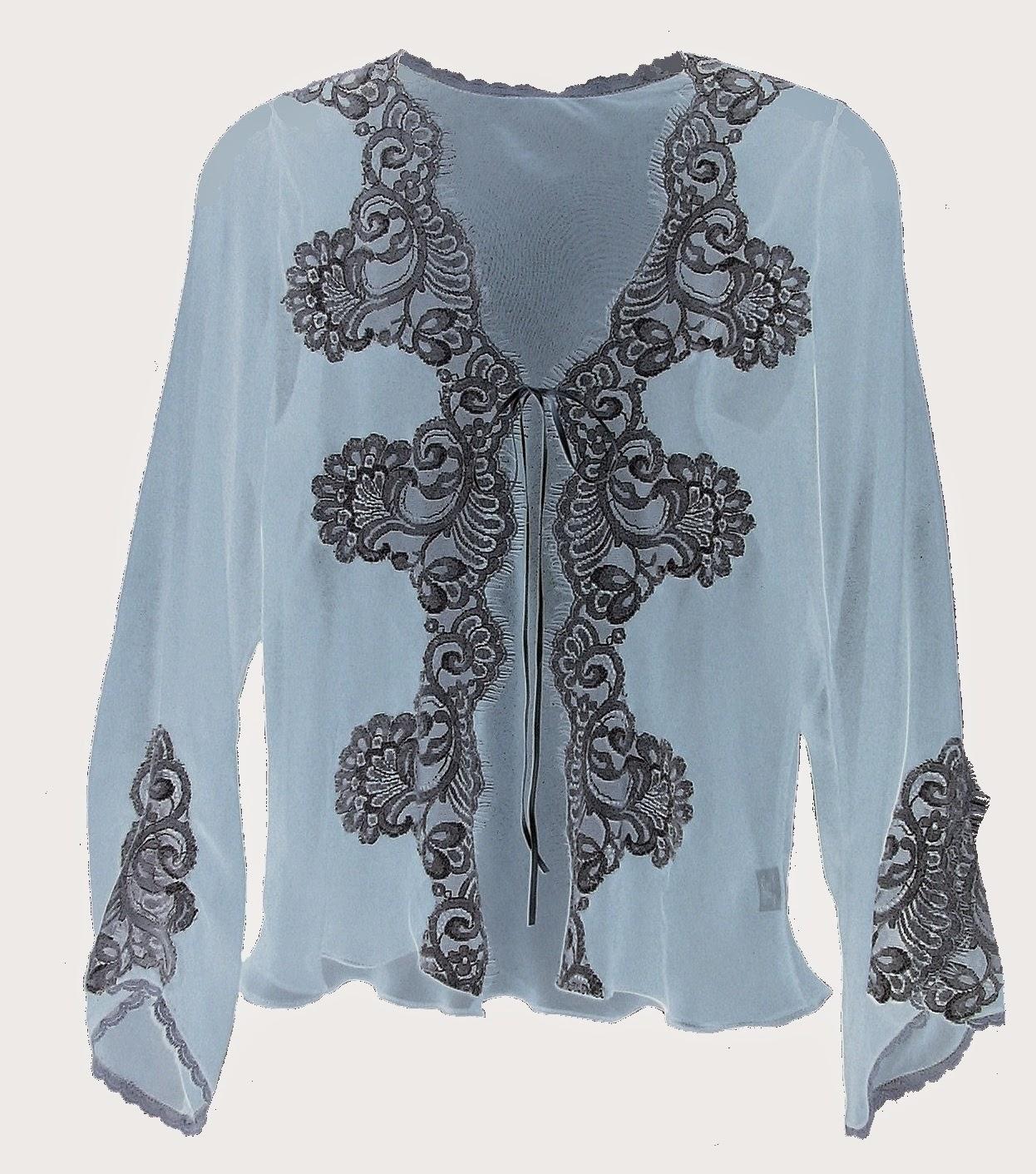 silver chiffon cardigan with lace