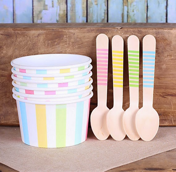 Pastel Rainbow Stripe Ice Cream Cups & Wooden Spoon Set, Pastel Ice Cream Cups Party (Set of 12 Large Cups and Large Spoons)  Ask a Question