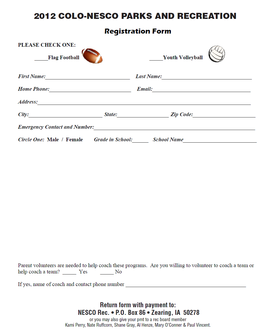 colo nesco recreation fall 2012 sport sign up sheet