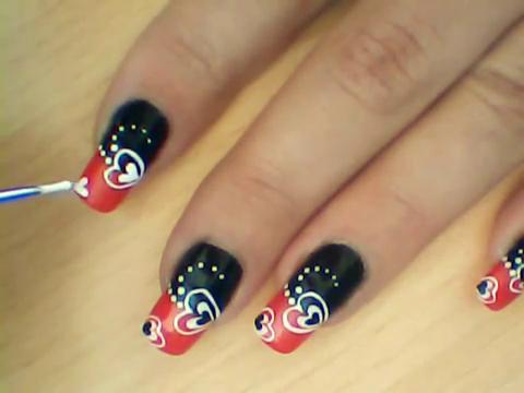 Manikir-obuka-tutorijal-3-(crveno-crni-nail-art-nokti)-010