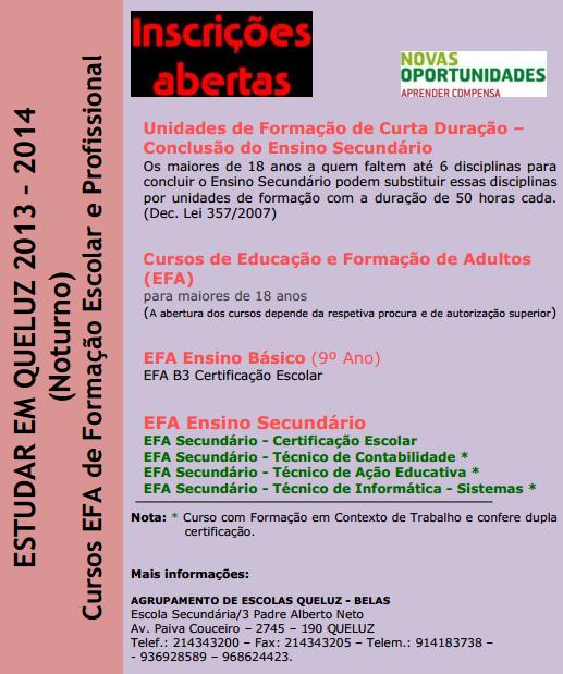 Cursos efa Queluz 2013 / 2014 (ensino noturno)