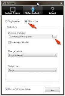 Menampilkan frame photo slide show di desktop komputer