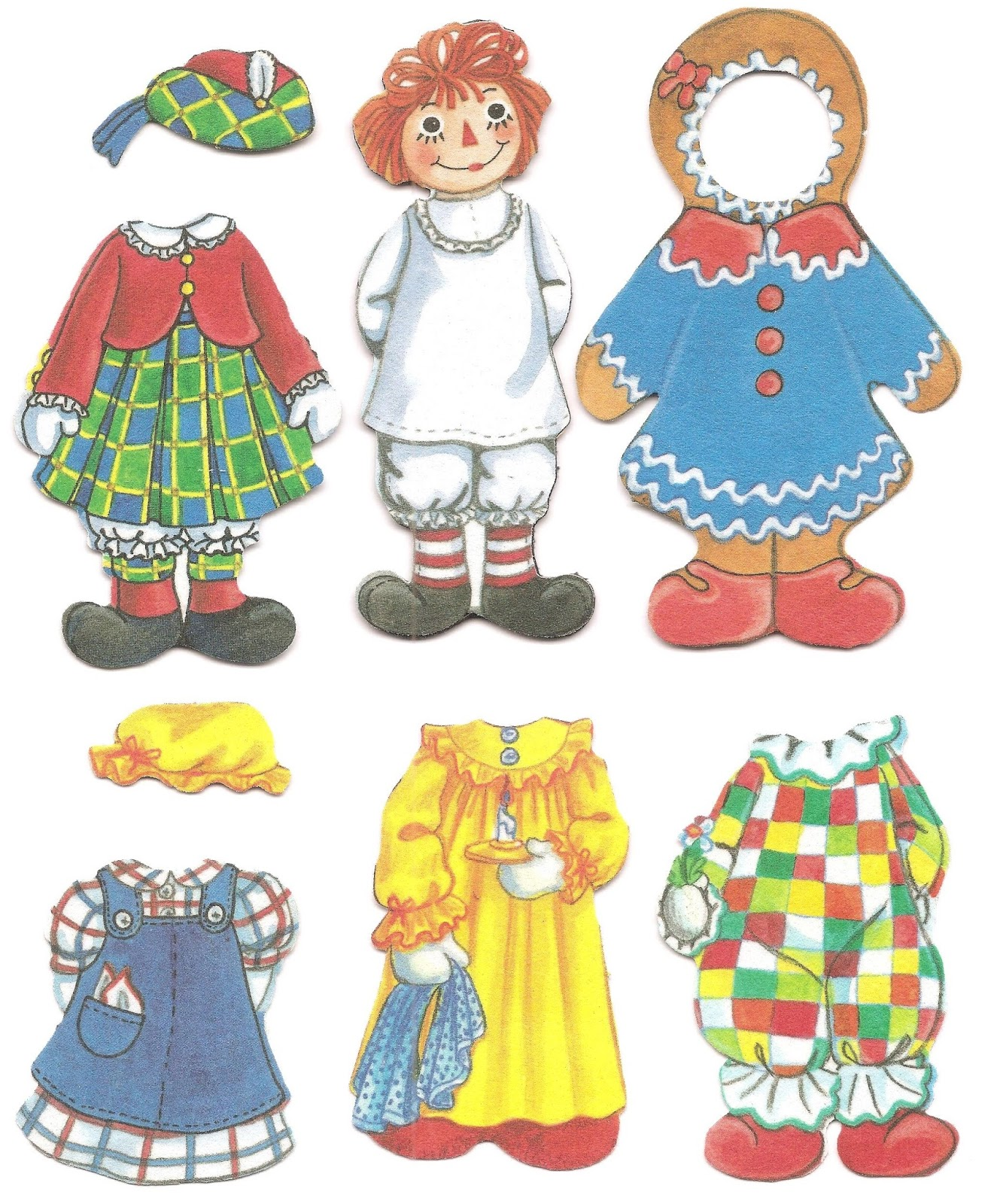 Mostly Paper Dolls Too Raggedy Ann Raggedy Andy Cloth Paper Dolls
