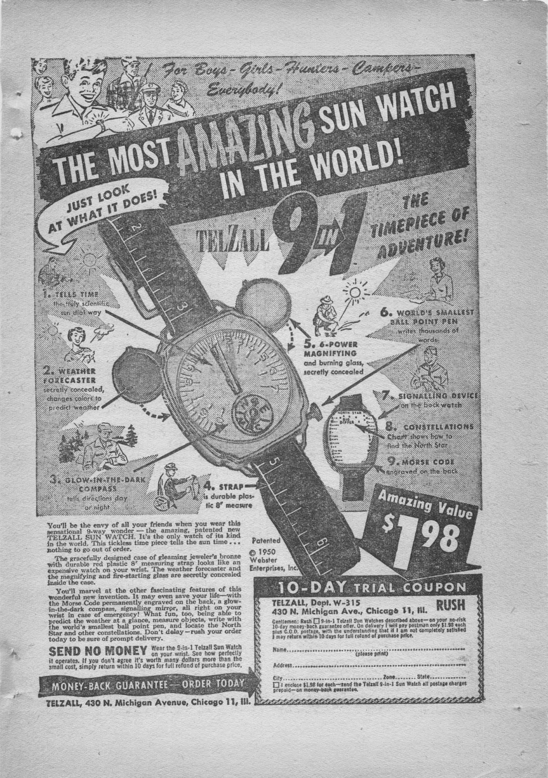 Watch ad from Short Stories, November, 1950