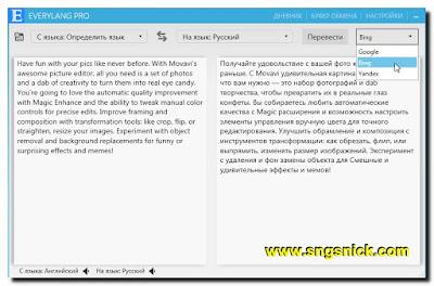 EveryLang Pro 2.2.8 - Выбор сервиса