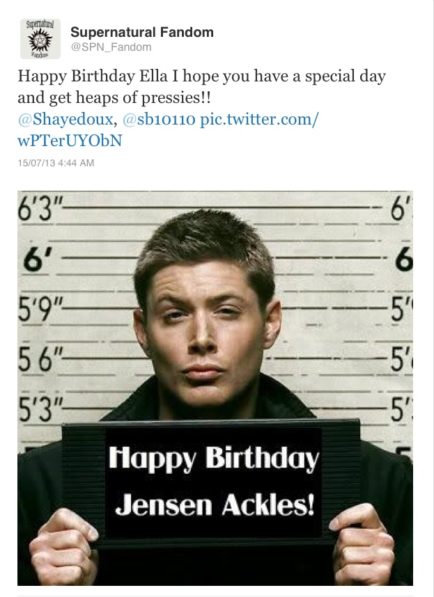 Oursupernaturalstory Thanks For Ellas Birthday Wishes Spn Family