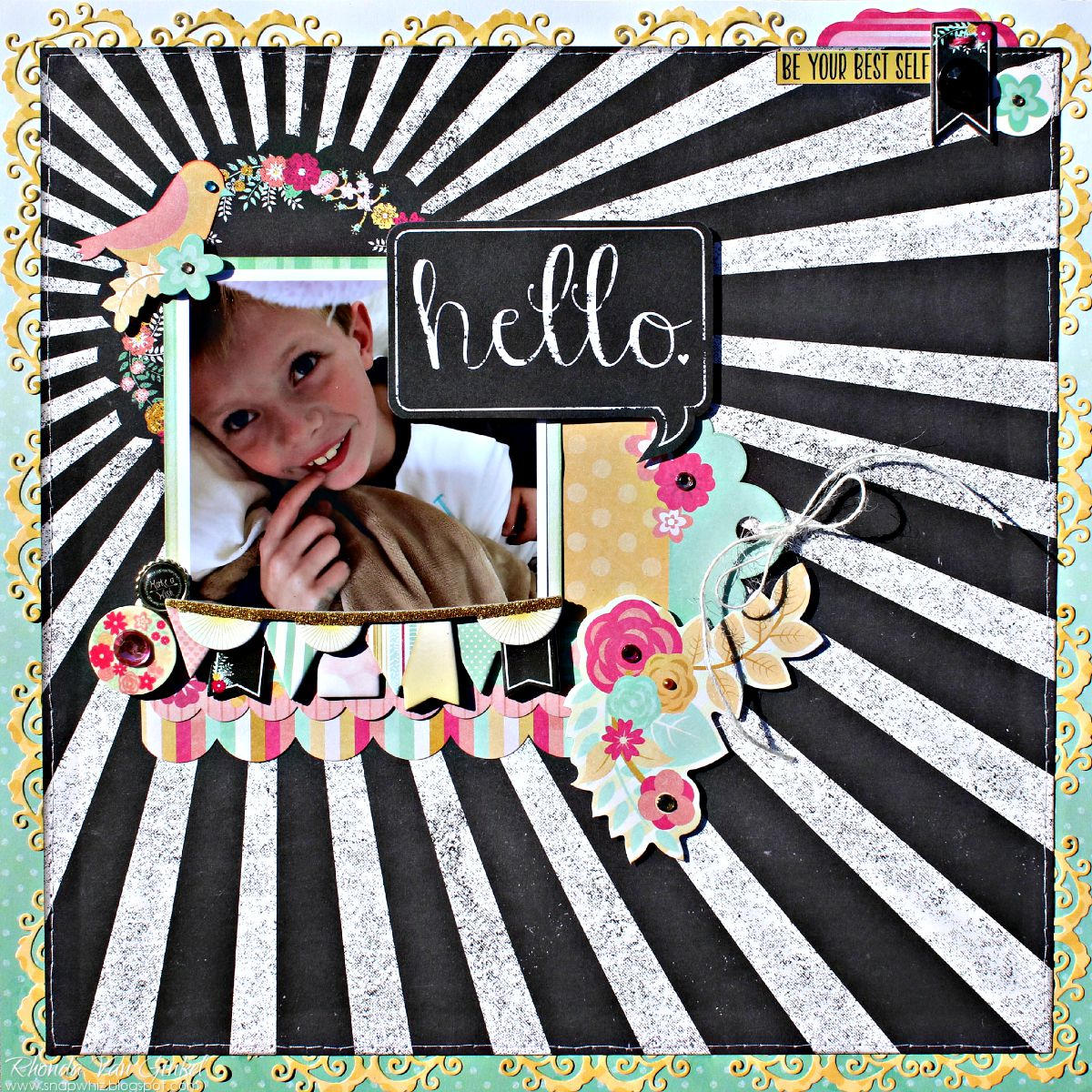 Hello page featuring You're Invited collection for BoBunny designed by Rhonda Van Ginkel