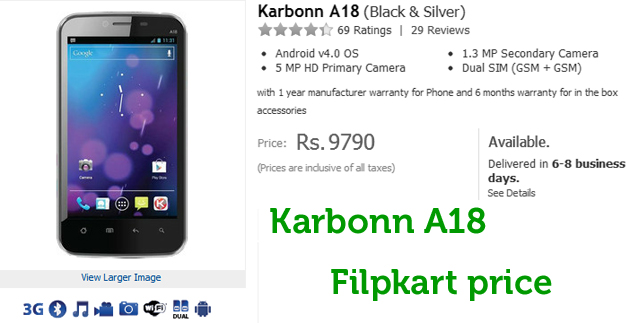 Karbonn A18 Dual SIM flipkart price