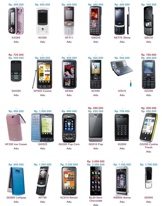 Daftar Harga Handphone LG September 2012 Terbaru