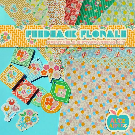 Feedsack Floral Gift Wrap Printable