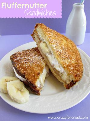 fluffernutter sandwiches on white plate