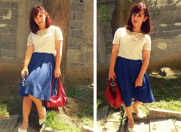 Outfit I am wearing: royal blue full Skirt designed and handmade by my mom; White lace short-sleeved Blouse designed and handmade by me; Silver Jewelry embelished with crystals by Swarovski; Small faux leather red Purse, white ballet flats with bow detailing & big white Sunnies From local stores