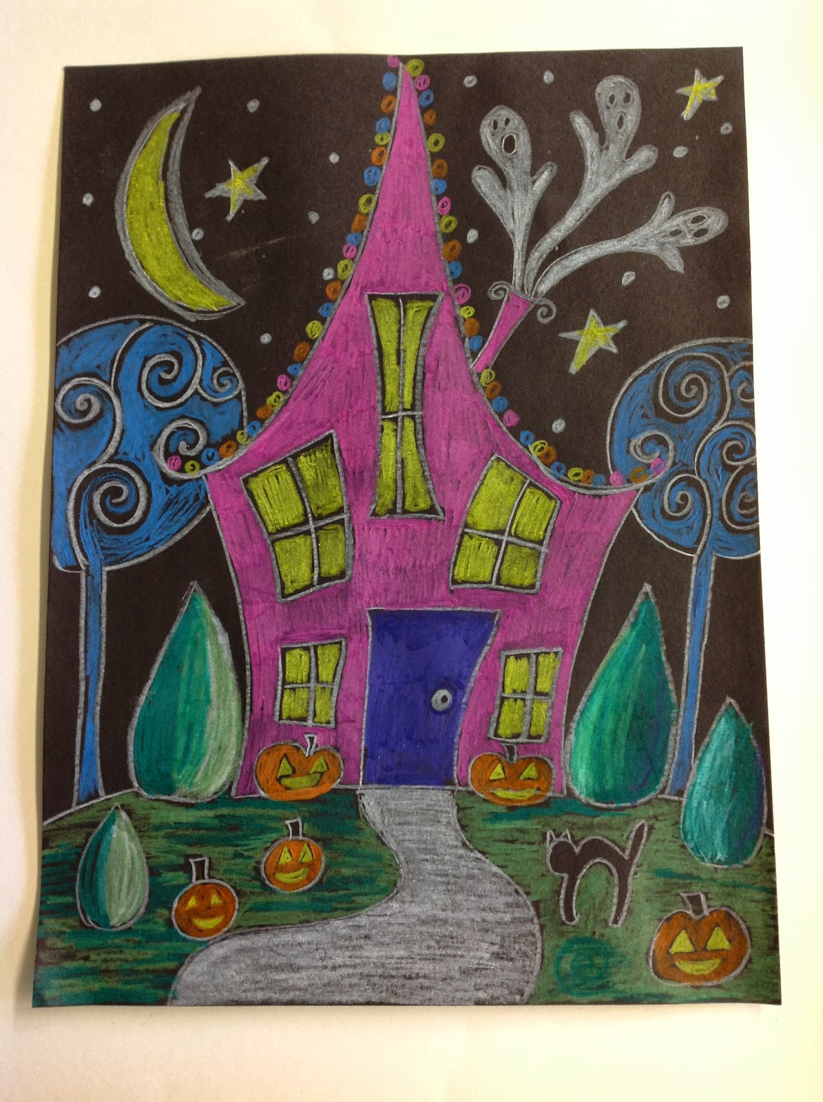 Color it like you mean it 4th grade halloween houses for 4th grade craft projects