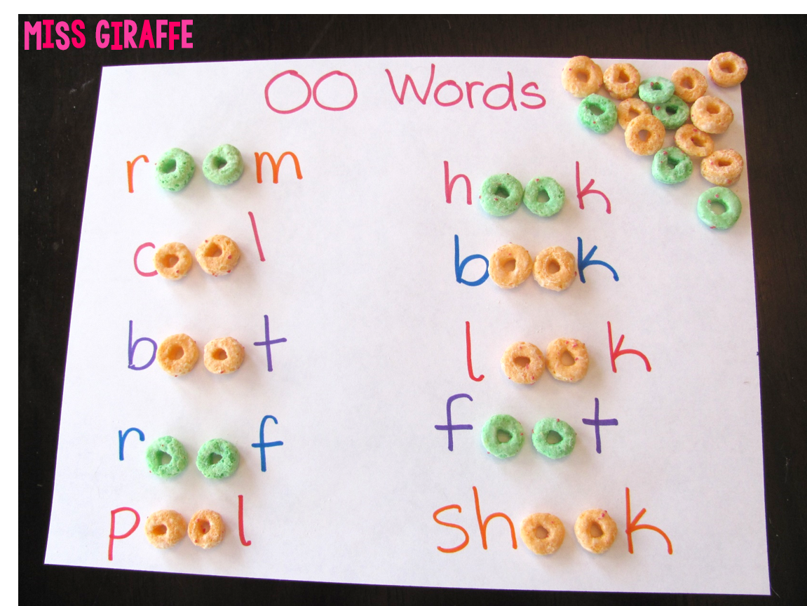 Worksheet Oo Word miss giraffes class five for friday may 1 2015 practice building words with the oo sound cereal fun vowel teams phonics activity