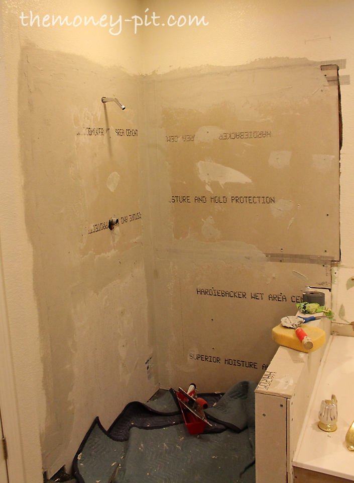 Bathroom Knee Wall master bathroom days 8-10: shower walls and final shower pan - the