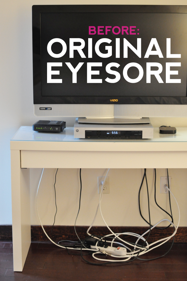 easy + affordable ikea hack: malm dressing table -- how to hide the cords for good!