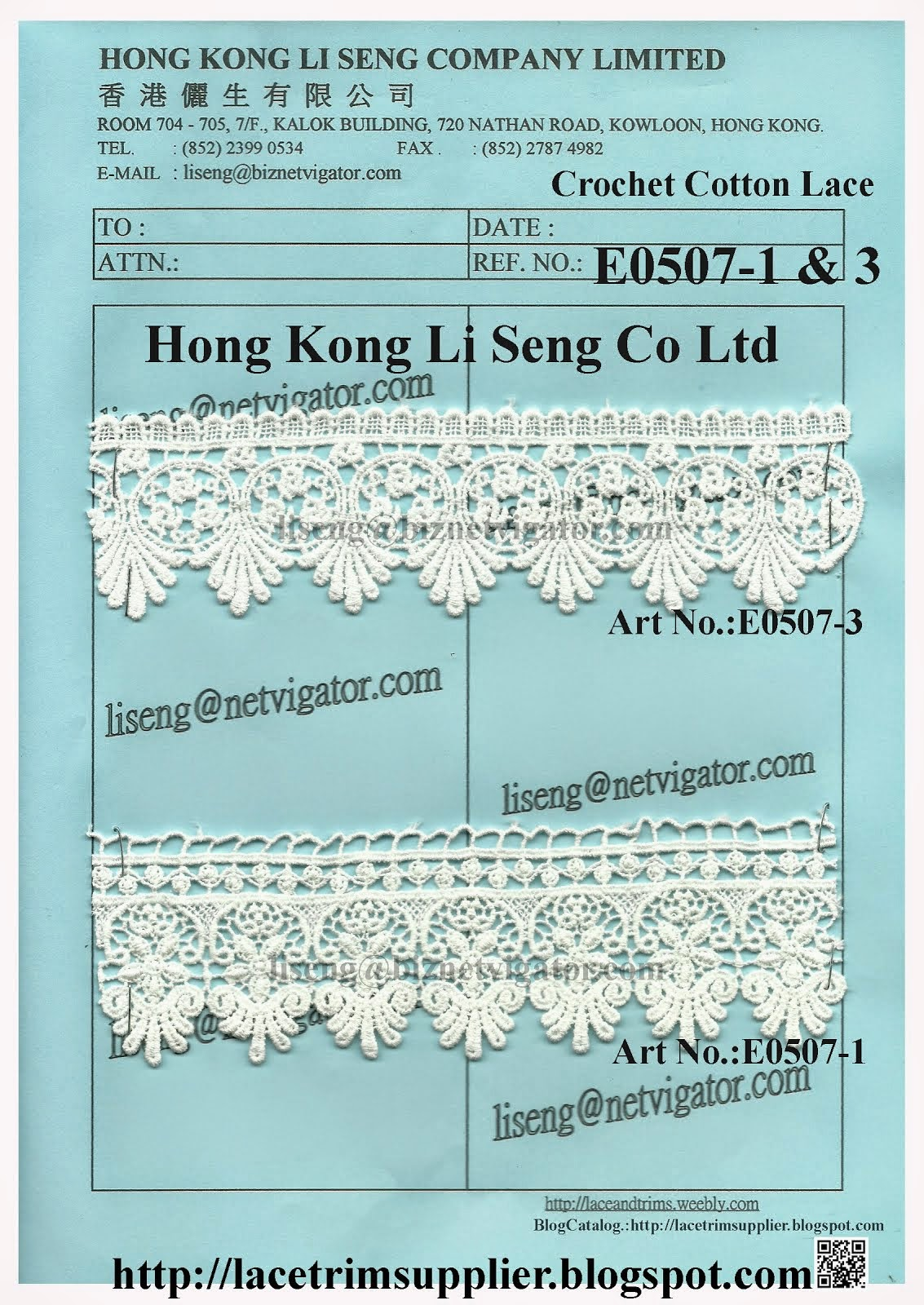 Crochet Cotton Lace Trims Manufacturer and Supplier - Hong Kong Li Seng Co Ltd