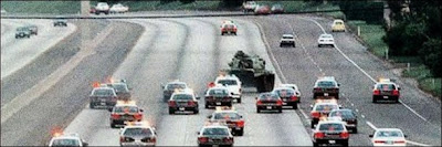 Tank driving on US freeway