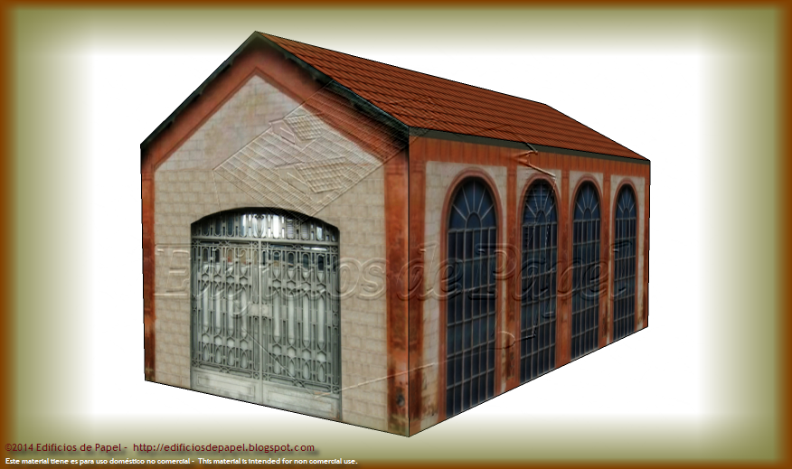 Main façade of the Old Factory paper model C.
