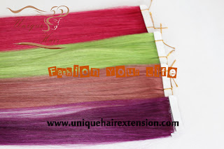 rainbow color tape hair extensions