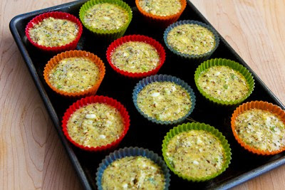 ready to bake for Flourless Egg and Cottage Cheese Savory Breakfast Muffin Recipe found on KalynsKitchen.com
