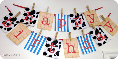 I Designed And Printed Off Each Letter Attached It To A Ribbon Using Clothespin You Can Download This Printable Birthday Banner For Free Here