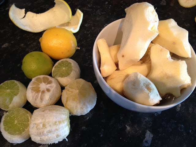 Ginger and lemon juice ingredients