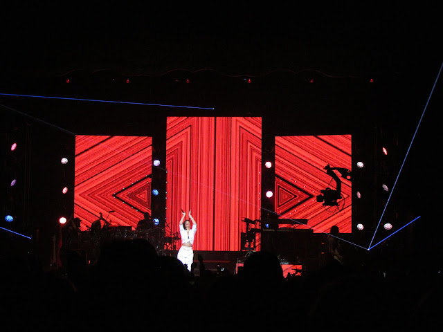 Rihanna performing in London on 777 tour