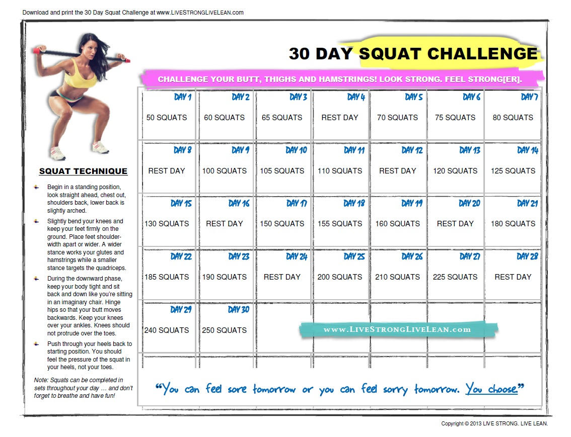 started the squat challenge a day ahead of the abs challenge.