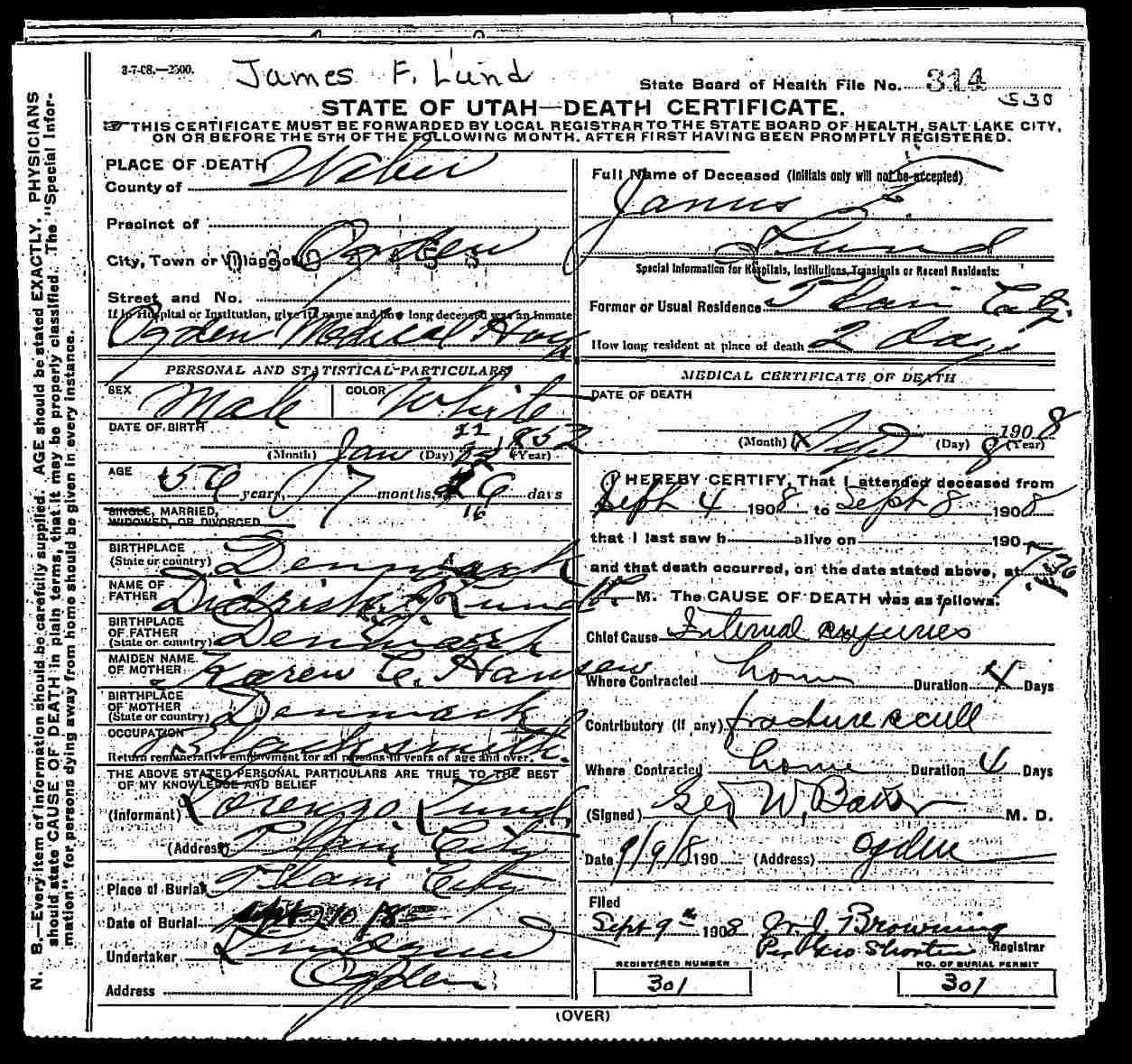 Lundology janus f lund death certificate source state of utah utah death certificates 1904 1956 entry no 18282 janus f lund 8 september 1908 digital images utah state archives and records 1betcityfo Choice Image