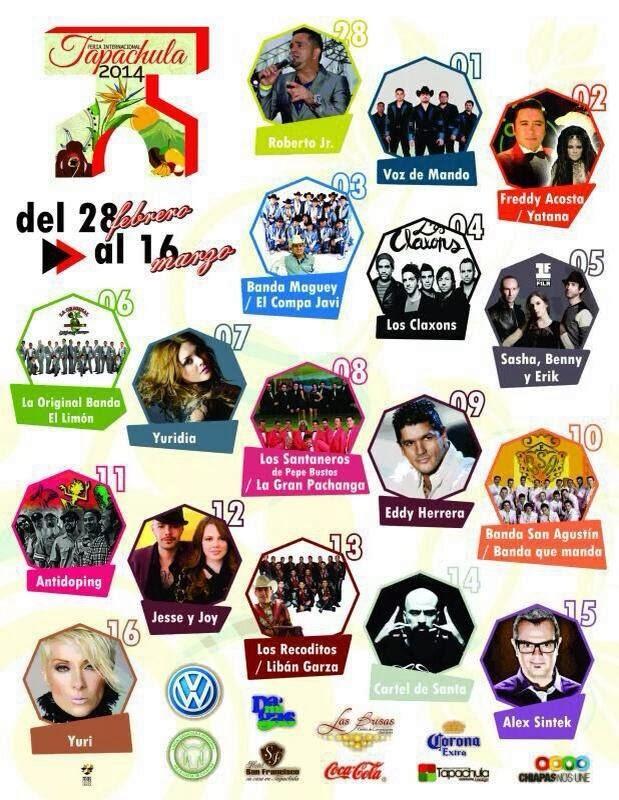 Artistas Feria Tapachula 2014