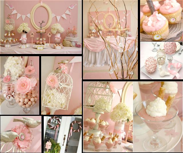 Baby shower pajaros en rosa y blanco