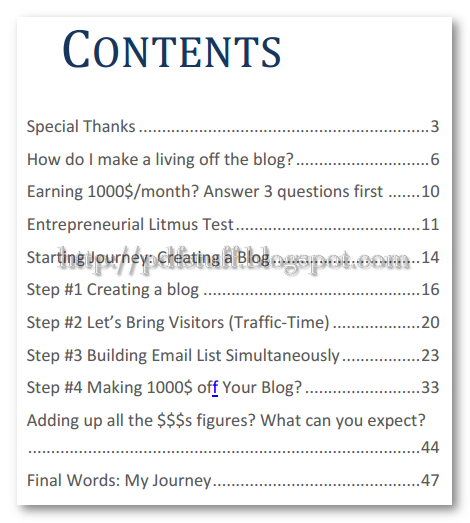 contents of the book guide to make $1000 per month blogging
