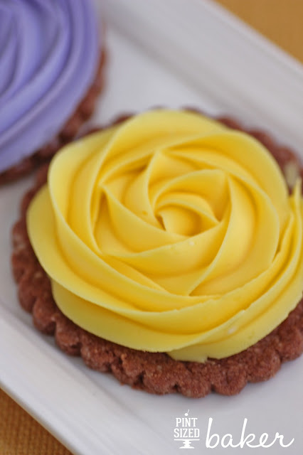 Chocolate Shortbread Cookies with Buttercream Rose