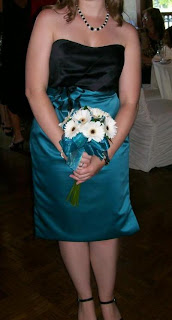 Miss Boa's Black and Teal Strapless Bridesmaid Dress!