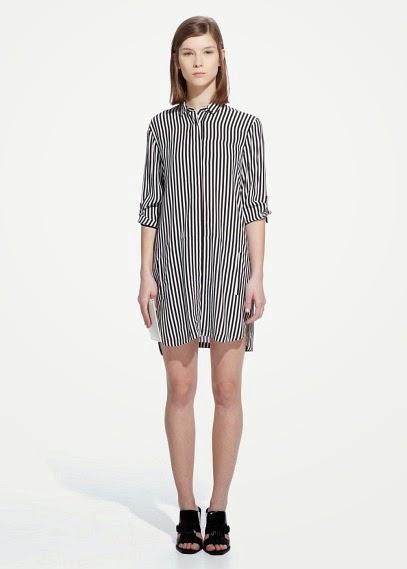 Mango 2015 Elbise Modelleri  çizgili siyah beyaz elbise, kısa model gömlek tarzı,