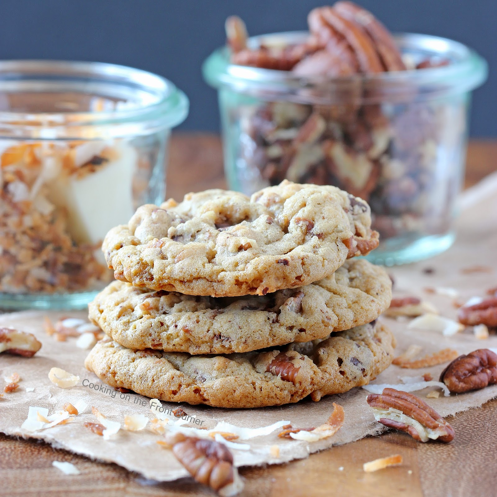 Chocolate Chunk Toasted Coconut and Pecan Cookies | Cooking on the Front Burner