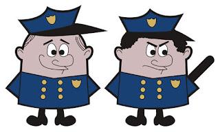 Polícia bom, polícia mau. Ilustração de James Raynes