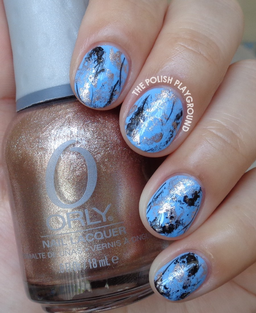 Blue Jewel Stone Saran Wrap Nail Art