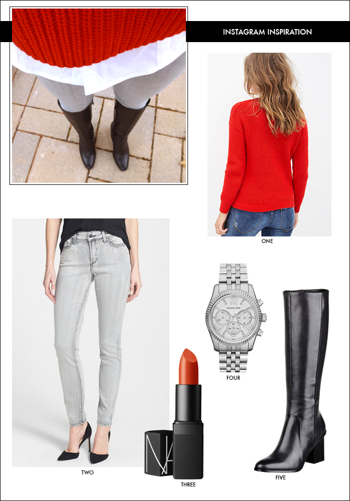 gray denim, red sweater, tall boots, winter look, what to wear shopping, gift ideas