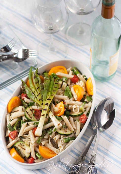 Smoky grilled veggie pasta salad (gluten-free dairy-free)