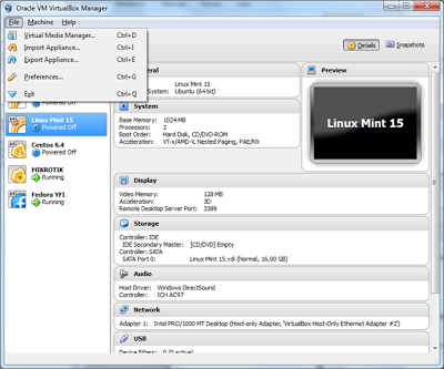 virtualbox menu file