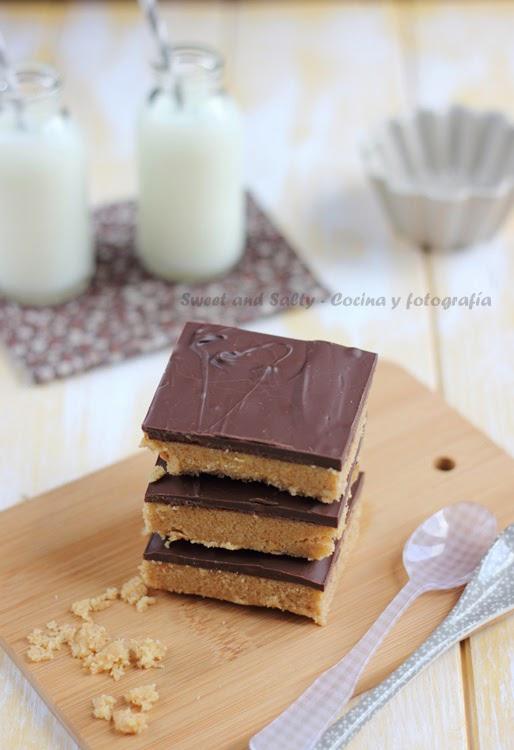 Barritas rápidas de mantequitlla de cacahuete y chocolate