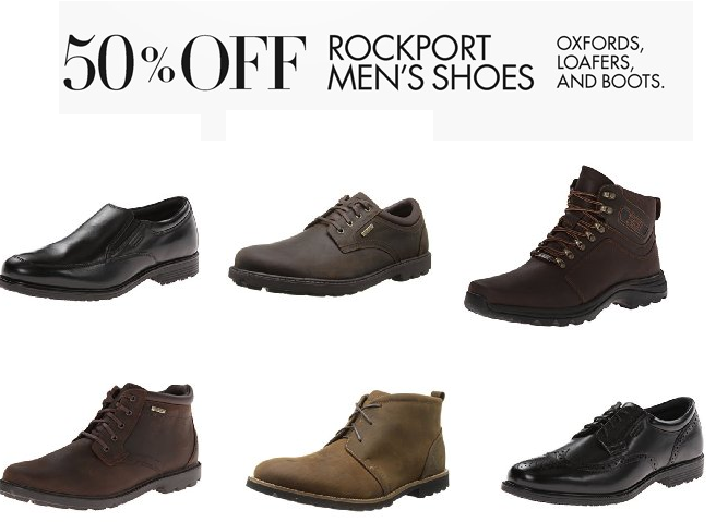 Amazon.com has 50% Off Select Men's Rockport Shoes (Oxfords, Loafers & Boots)  listed below. Shipping is free. Returns are free as well.