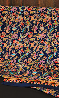 Singapore girl batik fabric dark blue