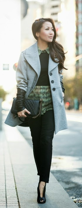 Grey Knit coat with Leather sleeves by Wendys LookBook