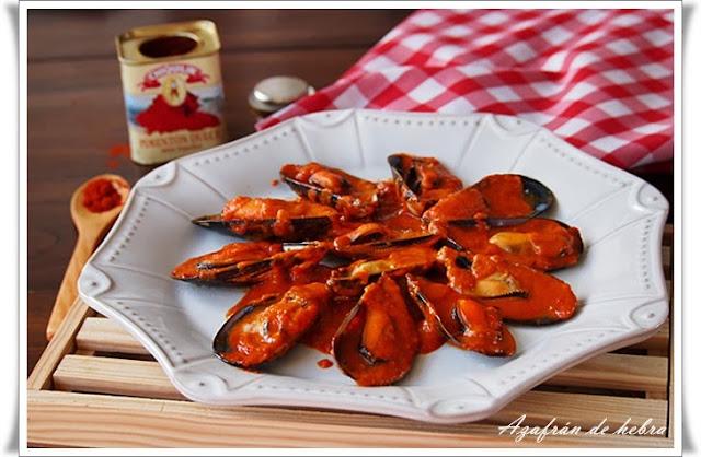 Mejillones en salsa roja picante